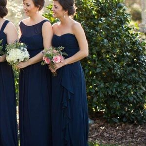 Navy Bill Leevkoff bridesmaids dress